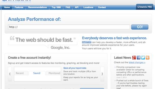 GTmetrix:サイトの速さを調べてくれるサイト